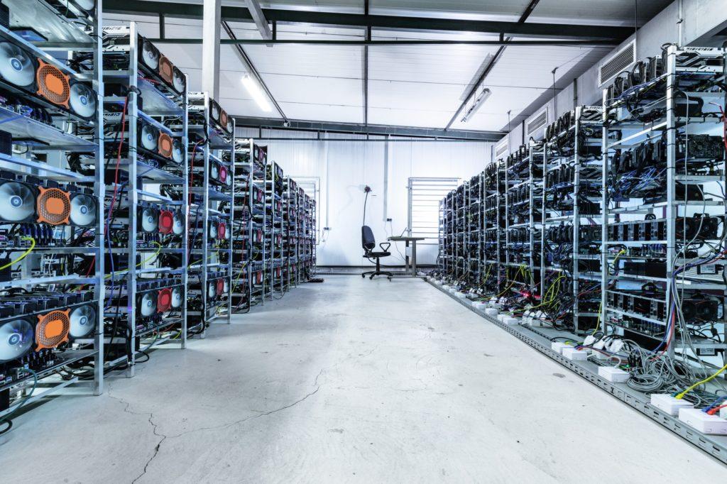 Bitcoin and crypto mining farm. Big data center.